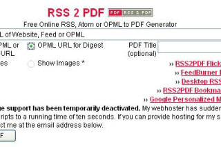 Create PDF files for your feed via rss2pdf