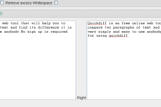 Compare two paragraphs online via quickdiff