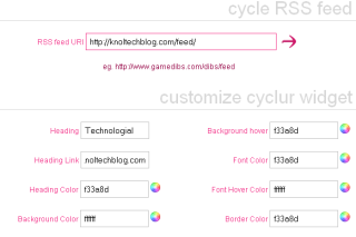 Make RSS widget in your blog or website via Cyclur