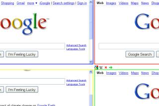 Four searches in a single web page via googlegooglegooglegoogle