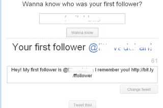 Find out the first follower in twitter via firstfollower