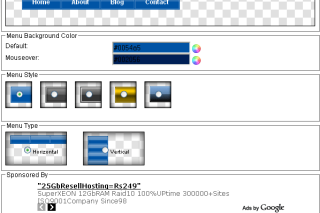Create menu online via menubuilder