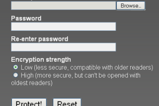Add password protection to your PDF files via pdfprotect