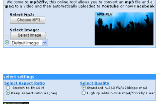 Upload mp3 into facebook and youtube via mp32flv