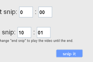 Snipsnip crop youtube videos share to others and embed in website