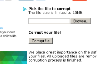 Corrupt files online via corrupt a file